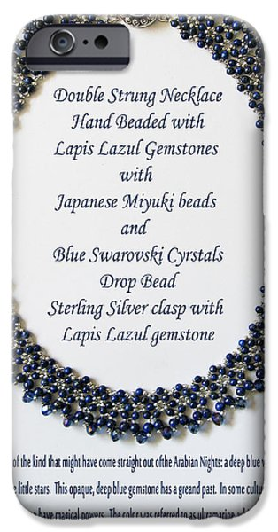 Antiques Jewelry iPhone Cases - Lapis Lazuli Gemstone Necklace iPhone Case by Jennie Breeze