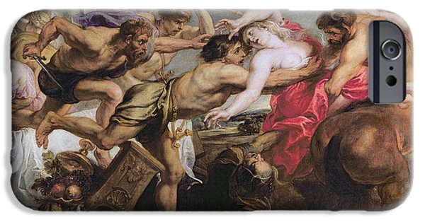 Greek iPhone Cases - Lapiths And Centaurs Oil On Canvas iPhone Case by Peter Paul Rubens