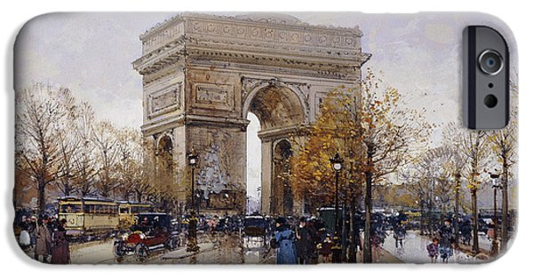 Featured Paintings iPhone Cases - LArc de Triomphe Paris iPhone Case by Eugene Galien-Laloue