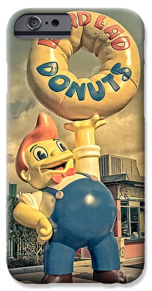 Amusements iPhone Cases - Lard Lad Donuts iPhone Case by Edward Fielding