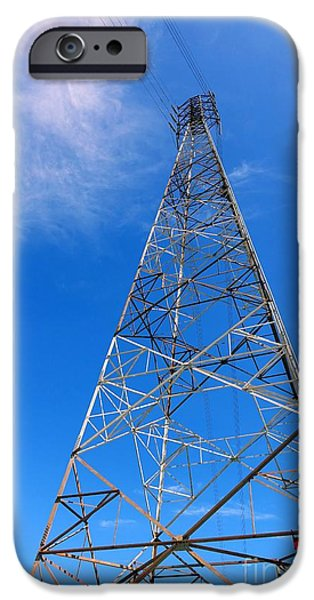 High Tower iPhone Cases - Large Electricity Pylon iPhone Case by Yali Shi