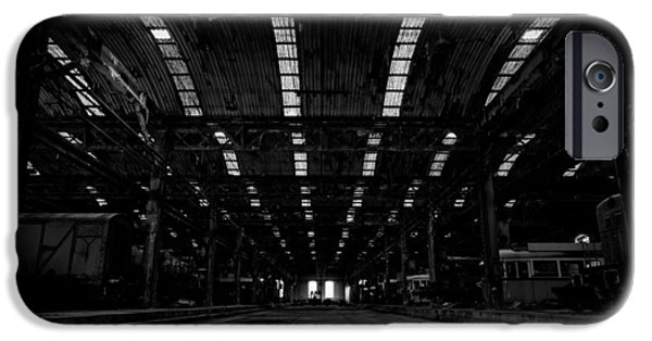 Industry Pyrography iPhone Cases - Large industrial hall  iPhone Case by Oliver Sved