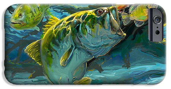 Marine iPhone Cases - Large Mouth Bass and Blue Gills iPhone Case by Savlen Art