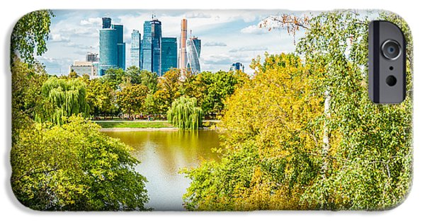 Nature Center Pond iPhone Cases - Large Novodevichy pond of Moscow - 4 iPhone Case by Alexander Senin