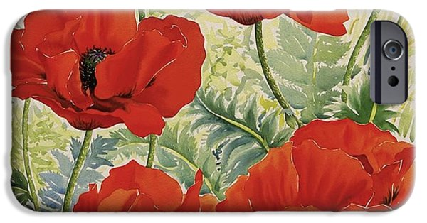 In Bloom Paintings iPhone Cases - Large Red Poppies iPhone Case by Christopher Ryland