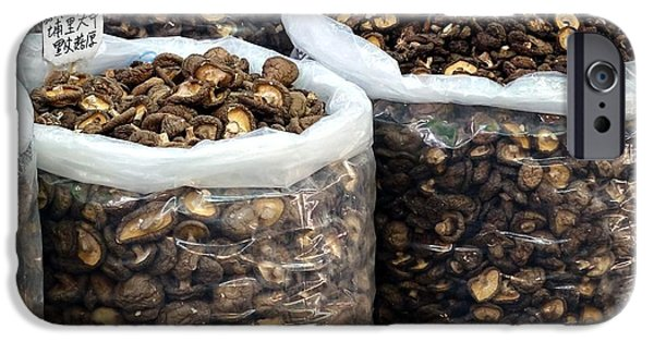 Chinese Market iPhone Cases - Large Sacks with Dried Mushrooms iPhone Case by Yali Shi