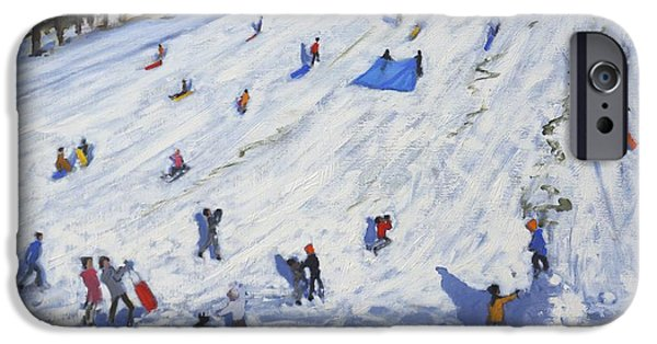 Tobogganing iPhone Cases - Large snowman  Chatsworth iPhone Case by Andrew Macara