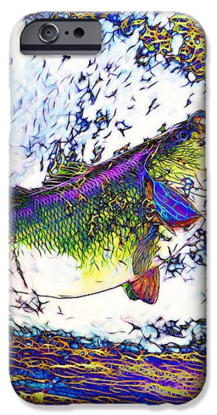 Largemouth Bass p68 iPhone Case by Wingsdomain Art and Photography