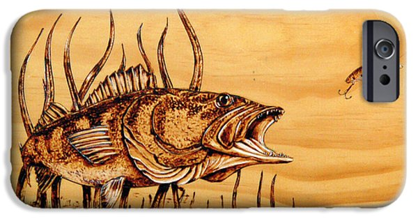 Florida Pyrography iPhone Cases - Largemouth Bass iPhone Case by Ron Haist