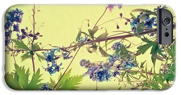 Flora Photographs iPhone Cases - Larkspur iPhone Case by Priska Wettstein
