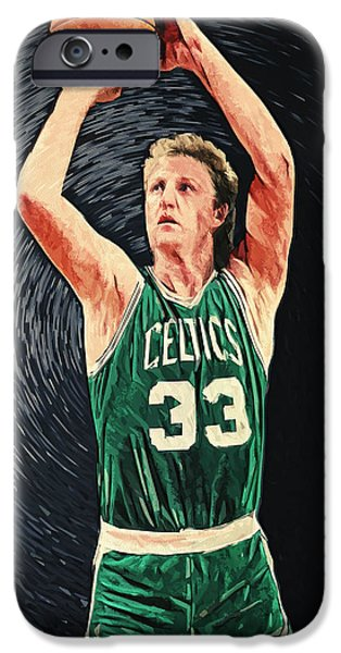 Boston Celtics iPhone Cases - Larry Bird iPhone Case by Taylan Soyturk