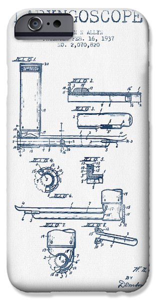 Medical Instrument iPhone Cases - Laryngoscope Patent from 1937  - Blue Ink iPhone Case by Aged Pixel