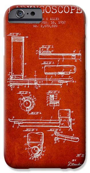 Hospital iPhone Cases - Laryngoscope Patent from 1937  - Red iPhone Case by Aged Pixel