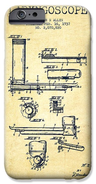 Medical Instrument iPhone Cases - Laryngoscope Patent from 1937  - Vintage iPhone Case by Aged Pixel