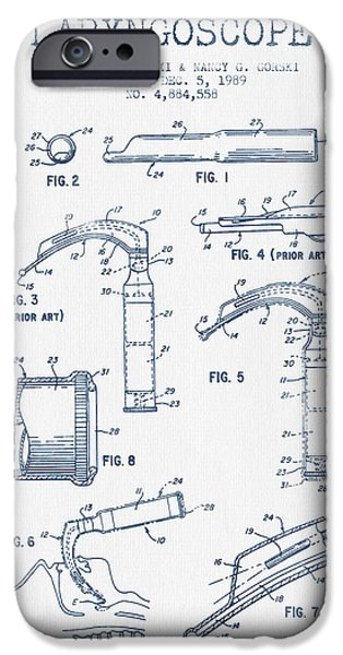 Medical Instrument iPhone Cases - Laryngoscope Patent from 1989  - Blue Ink iPhone Case by Aged Pixel