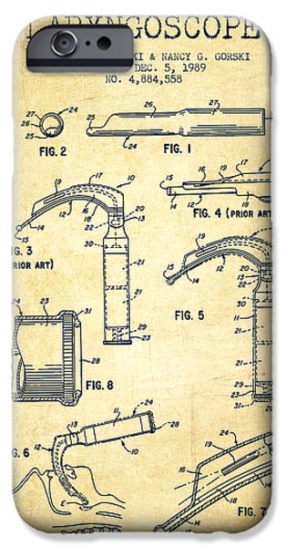 Medical Instrument iPhone Cases - Laryngoscope Patent from 1989 - Vintage iPhone Case by Aged Pixel