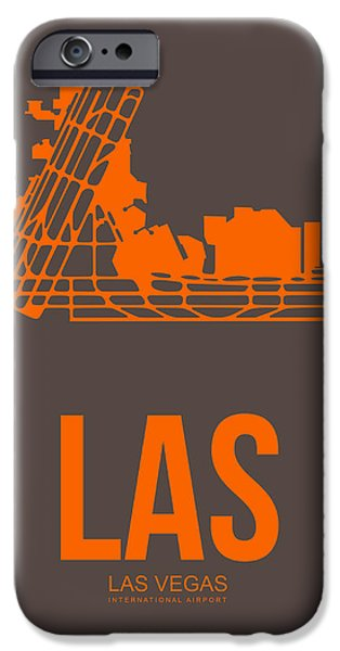 Town Mixed Media iPhone Cases - LAS Las Vegas Airport Poster 1 iPhone Case by Naxart Studio
