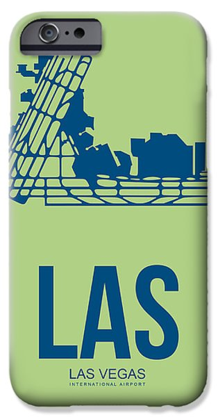 Town iPhone Cases - LAS Las Vegas Airport Poster 2 iPhone Case by Naxart Studio