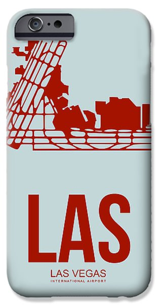 Gambling iPhone Cases - LAS Las Vegas Airport Poster 3 iPhone Case by Naxart Studio