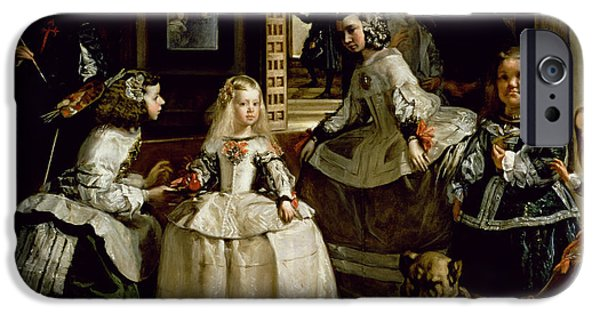 Self Portrait Photographs iPhone Cases - Las Meninas, Detail Of The Lower Half Depicting The Family Of Philip Iv 1605-65 Of Spain, 1656 Oil iPhone Case by Diego Rodriguez de Silva y Velazquez