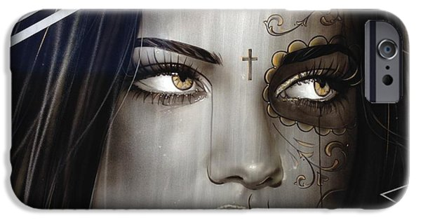 Hand Paint Brushed iPhone Cases - Las Mujeres Espanolas iPhone Case by Christian Chapman Art