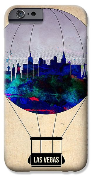 Gambling iPhone Cases - LAs Vegas Air Balloon iPhone Case by Naxart Studio