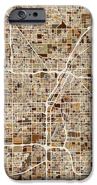 Vegas iPhone Cases - Las Vegas City Street Map iPhone Case by Michael Tompsett