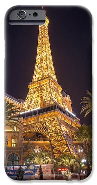 No People Pyrography iPhone Cases - Las Vegas Eiffel Tower iPhone Case by Jason  Choy