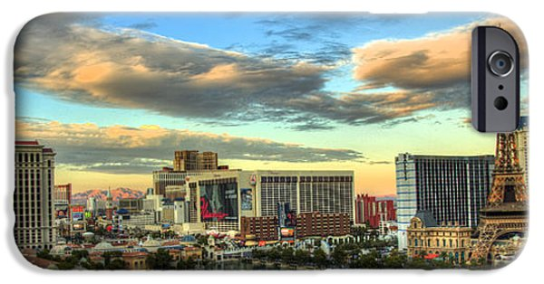 Balcony iPhone Cases - Las Vegas HDR Panoramic iPhone Case by Joey Lax-Salinas