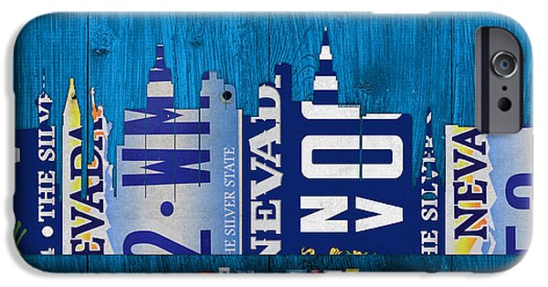Las Vegas Art iPhone Cases - Las Vegas Nevada City Skyline License Plate Art on Wood iPhone Case by Design Turnpike