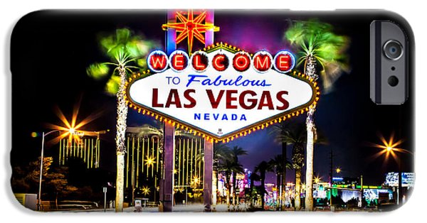 Stripes iPhone Cases - Las Vegas Sign iPhone Case by Az Jackson