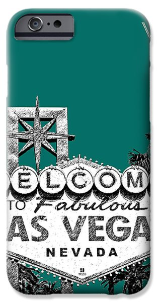 Pen And Ink iPhone Cases - Las Vegas Welcome to Las Vegas - Sea Green iPhone Case by DB Artist