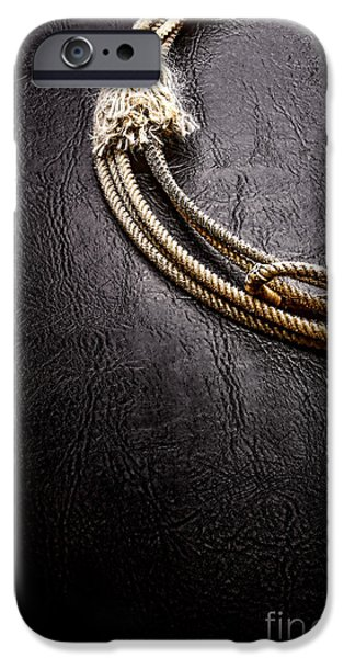 Rodeo iPhone Cases - Lasso on Leather iPhone Case by Olivier Le Queinec