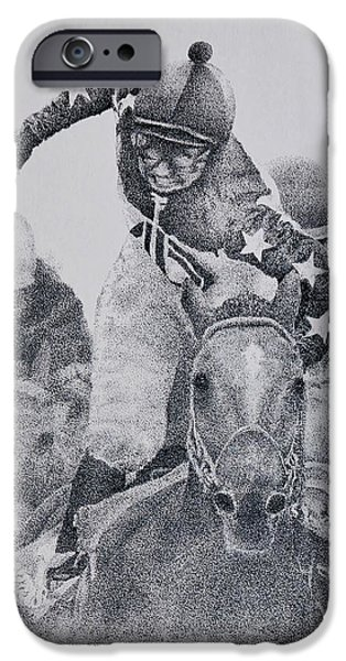 Horse Racing Drawings iPhone Cases - Last Call iPhone Case by Tony Ruggiero