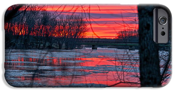 Maine iPhone Cases - Last Dawn of 2014 iPhone Case by Mark Silk