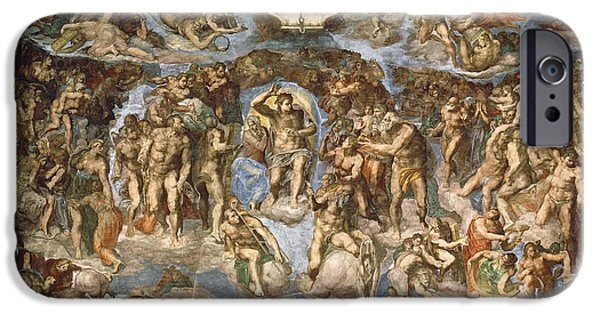 Anguish iPhone Cases - Last Judgement, From The Sistine Chapel, 1538-41 Fresco iPhone Case by Michelangelo Buonarroti
