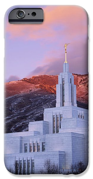 Jesus Photographs iPhone Cases - Last Light at Draper Temple iPhone Case by Chad Dutson