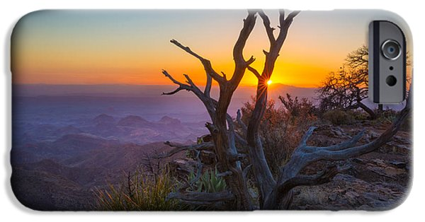 South Rim iPhone Cases - Last Light on the South Rim iPhone Case by Inge Johnsson