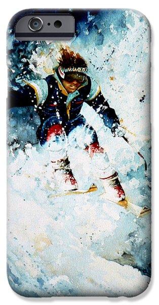 Skiing Action Paintings iPhone Cases - Last Run iPhone Case by Hanne Lore Koehler