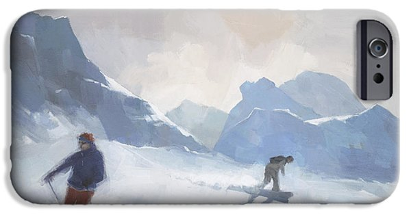 Skiing iPhone Cases - Last Run Les Arcs iPhone Case by Steve Mitchell