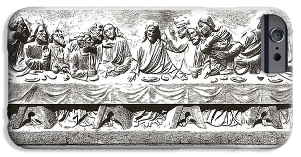 Religious Drawings iPhone Cases - Last Supper iPhone Case by Mark Baranowski