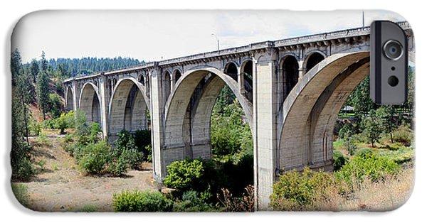 Creek Pyrography iPhone Cases - Latah Creek Bridges iPhone Case by DUG Harpster