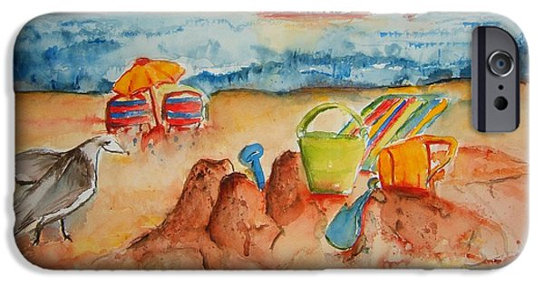 Best Sellers -  - Sand Castles iPhone Cases - Late Afternoon Beach iPhone Case by Elaine Duras