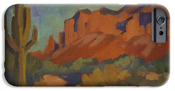 Plein Air iPhone Cases - Late Afternoon Light at Superstition Mountain iPhone Case by Diane McClary