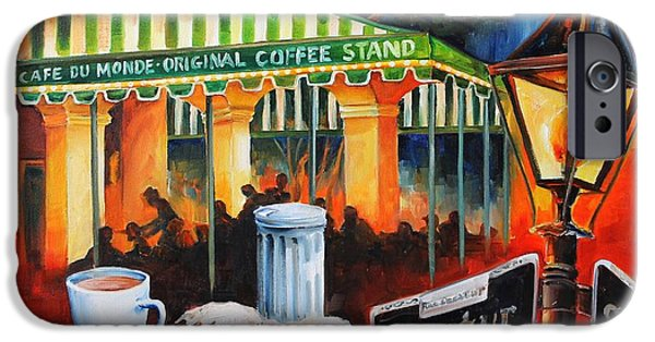 Night Lamp iPhone Cases - Late at Cafe Du Monde iPhone Case by Diane Millsap