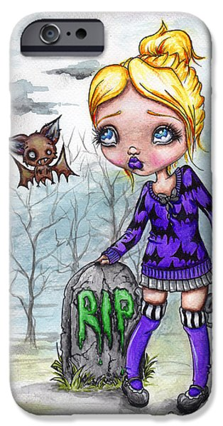 Creepy Pastels iPhone Cases - Late Night Visit iPhone Case by Lizzy Love