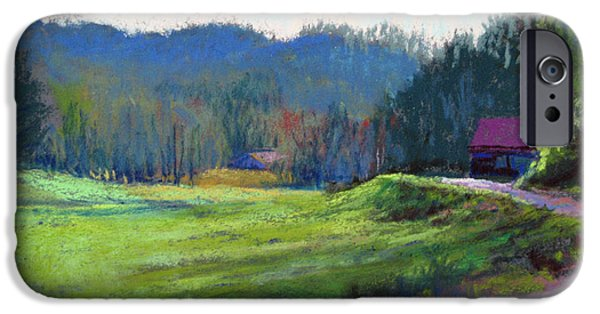 Barn Landscape Pastels iPhone Cases - Late Valley Light iPhone Case by Marsha Savage