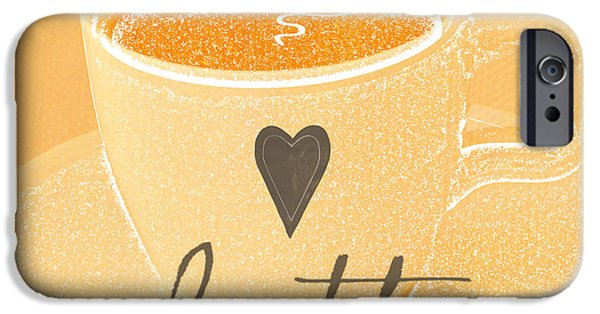 House iPhone Cases - Latte Love in orange and white iPhone Case by Linda Woods