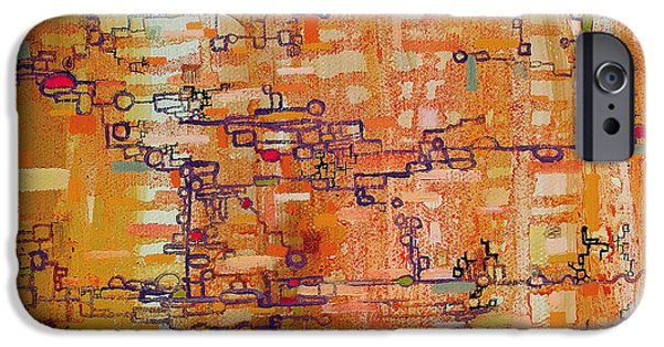 Technical Paintings iPhone Cases - Lattice Animals Abstract Oil Painting by Regina Valluzzi iPhone Case by Regina Valluzzi