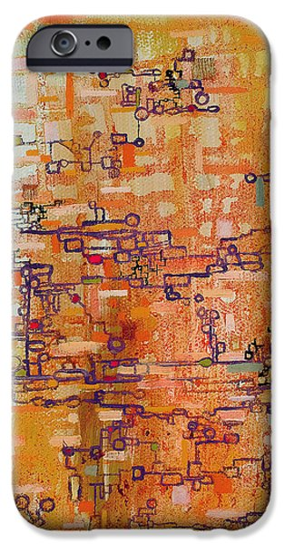 Lattice Animals Abstract Oil Painting by Regina Valluzzi iPhone Case by Regina Valluzzi